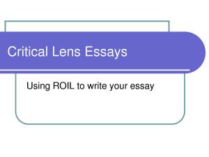 Critical Lens Essays Quote