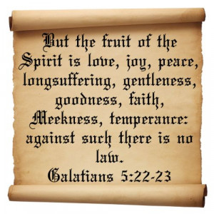 "... , temperance: against such there is no law."" Galatians 5:22-23"