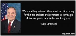 We are telling veterans they must sacrifice to pay for the pet ...