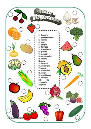 Fruits and Vegetables Printables