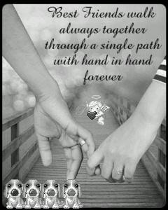 Best Friend Walk Always Together Through A Single Path With Hand To ...