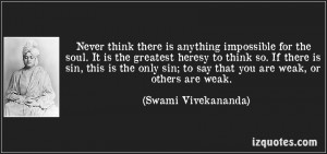 Inspirational Quote on Weakness By Swami Vivekananda