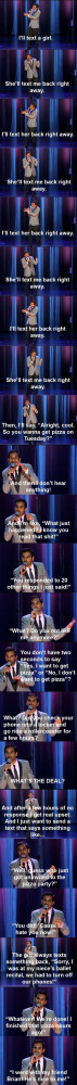 Aziz Ansari Stand Up On Texting a Girl That Doesn't Text Back