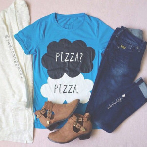 shirt hipster style girly cool neon quote on it pizza tfios shirt ...