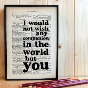Wedding Gift Romantic Quote Typographic Art on Vintage Shakespeare ...