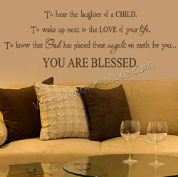 1095 you are blessed inspirational wall quote counting your blessings ...