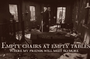 Empty chairs at empty tables!
