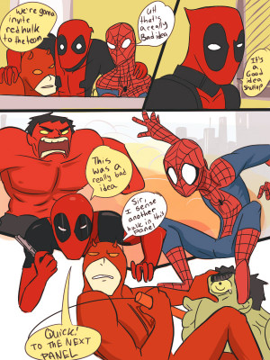 Deadpool myart Daredevil Marvel team red Spurruman