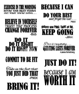 COMPLETE SET OF 12 Fitness Sayings
