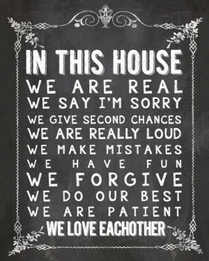 You are here: Home › Quotes › In This House Chalkboard Home Decor ...