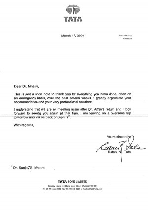 Professional Letter Of Thanks