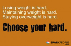 Motivational Quote - Losing weight is hard. Maintaining weight is hard ...