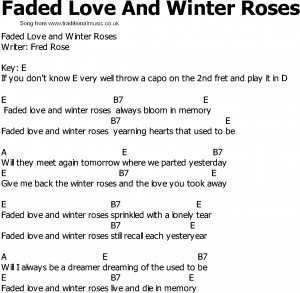 Old Country song lyrics with chords - Faded Love And Winter Roses