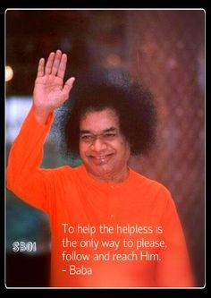 Sathya Sai Baba blessing photo with quote More