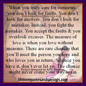 When You Truly Care For Someone.