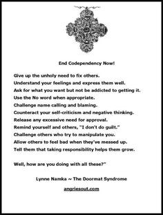 End Codependency Now! by Lynne Namka - The Doormat Syndrome ...