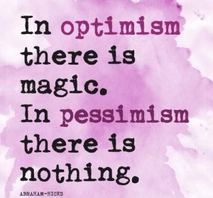 ... Hicks quote about optimism and pessimism on Radiant Orchid card