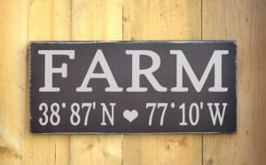 Personalized Farm House Home Wood Sign Longitude Latitude Wooden Signs ...