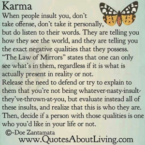 Karma and the law of mirrors
