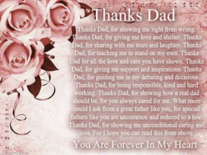 Thanks dad love quotes pink flowers heart roses father dad father's ...