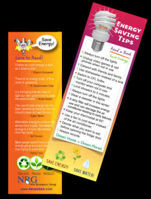 Save Energy - Tip Bookmark | Save your place with Energy saving quotes ...