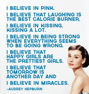 believe in pink...quotes from audrey hepburn