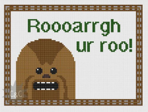 Star Wars Chewbacca quote cross stitch sampler by CapesAndCrafts, £2 ...