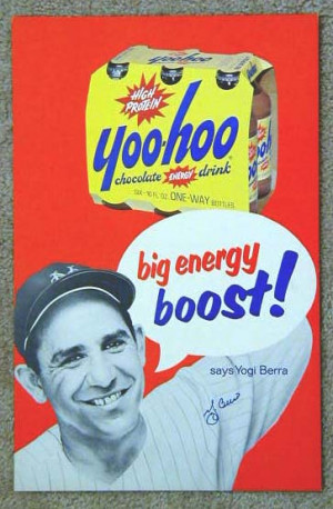 1950's Yogi Berra Yoo-Hoo Chocolate Drink Advertising Sign ...