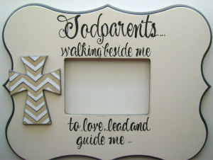 ... painted personalized 5X7 Godparents picture frame with verse and cross