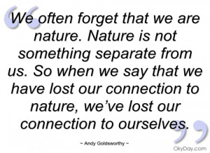 we often forget that we are nature andy goldsworthy