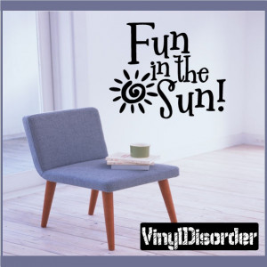 Fun in the sun Summer Holiday Vinyl Wall Decal Mural Quotes Words ...