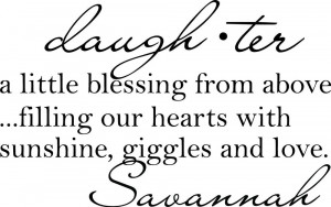 Daughter a little blessing Cute vinyl wall decal quote sticker ...