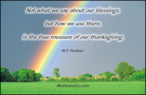 An inspirational picture of rainbow in a meadow with the quote: Not ...