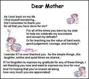 Mothers Poem Dear Mother