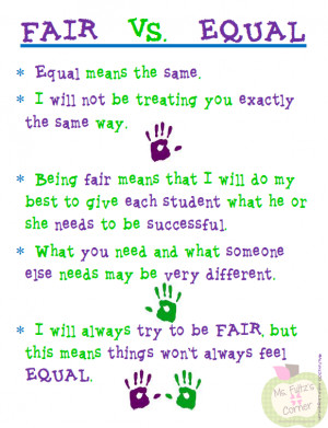 Free Fair Doesn't Have to Be Equal Poster for Classroom Management