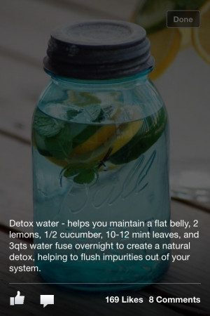 Detox water - helps you maintain a flat belly. 2 lemons, 1/2 cucumber ...
