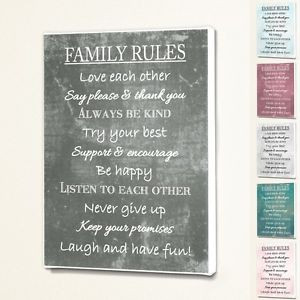 Family-Rules-Wall-Quote-Sign-Saying-Box-Canvas-Fabric-Print-6-Colours