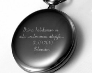 Personalized Engraved Black Polish Pocket Watch with custom writing ...