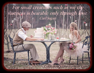 For small creatures such as we the vastness is bearable only through ...