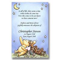 Disney Pooh Piglet Tigger Stars Baby Adoption Announcements