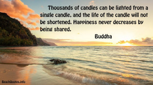 Happiness Quote - Thousands of candles can be lit from a single candle ...