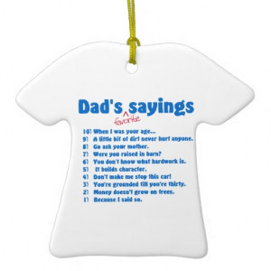 Dad's favourite sayings christmas ornament