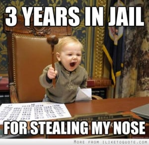 years in jail, for stealing my nose.