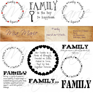 Word Art Digital Word Art Family Clip Art Family Clipart Family Quote ...