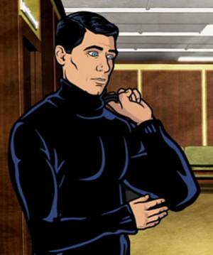 Archer 's black turtleneck.