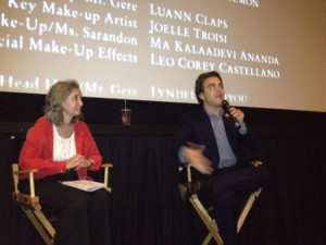 Nell Minow and Nicholas Jarecki at the Q&A. Photo by Anita Glick.