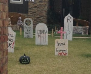 An Edmond woman said her neighbors are taking Halloween too far.