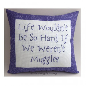 ... Stitch Pillow Quote, Purple Pillow, Muggle Quote, Harry Potter Quote