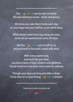 Nanny / Babysitter thank you poem - Fingerprints - on chalkboard ...