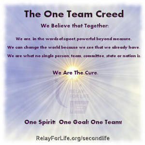 ... state or nation can be we are the cure one spirit one goal one team